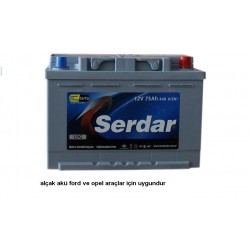 Serdar Akü Fiyatları - 75 Amper Serdar Akü - Alçak Kutu